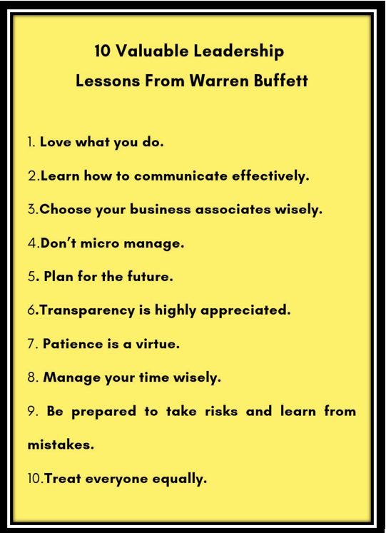 10 valuable lessons from Warren Buffett2
