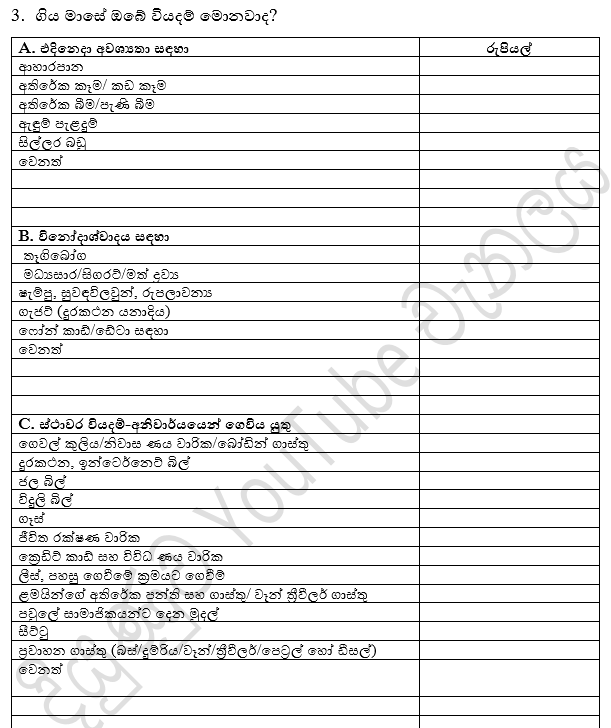 Diyunuwa Expenses format for Slide Sinhala