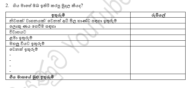 Diyunuwa Savings format for Slide Sinhala